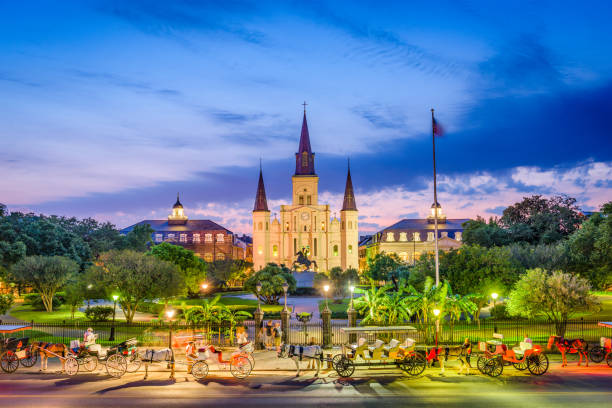 st. louis cathedral new orleans - historic vs new stock photos and pictures
