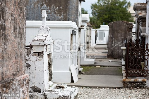 Plastered and white washed tombs in St Louis Cemetery No.1 in New Orleans, Louisiana.