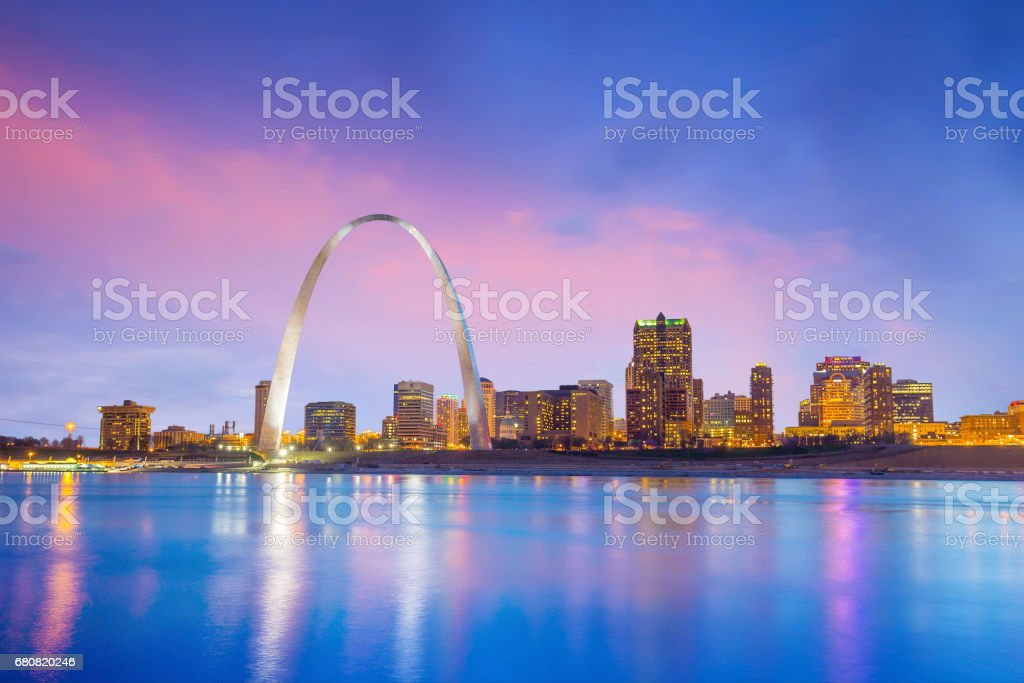 St. louis downtown  at twilight stock photo