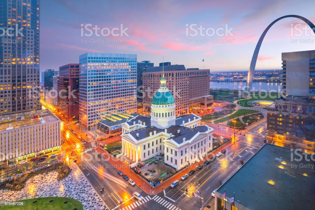 St. Louis downtown skyline at twilight royalty-free stock photo