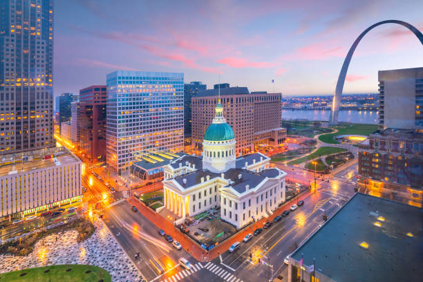 St. Louis downtown skyline at twilight stock photo