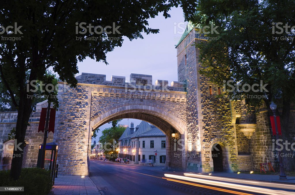 St. Louis Gate in Quebec City, Canada at night royalty-free stock photo