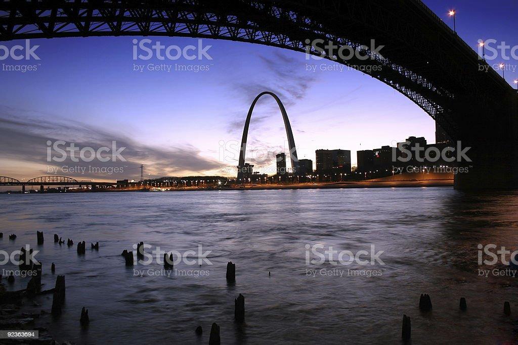 St. Louis Gateway Arch and Eads Bridge royalty-free stock photo