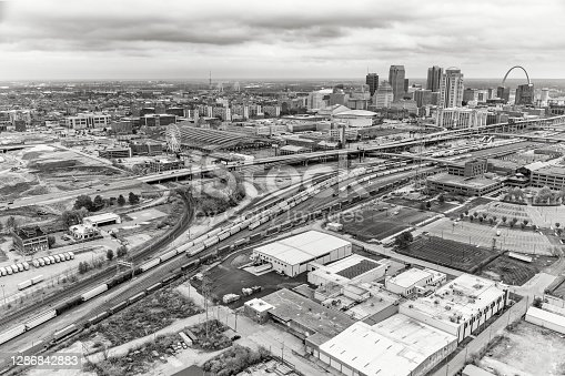 A wide angle aerial view of the greater St. Louis area including including the downtown skyline.