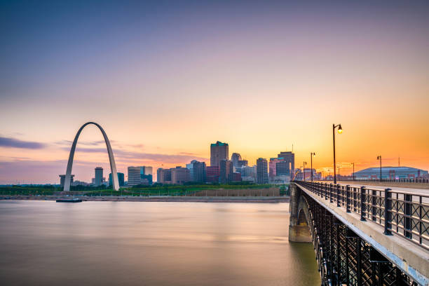 St. Louis, Missouri, USA downtown cityscape on the Mississippi River at twilight. stock photo