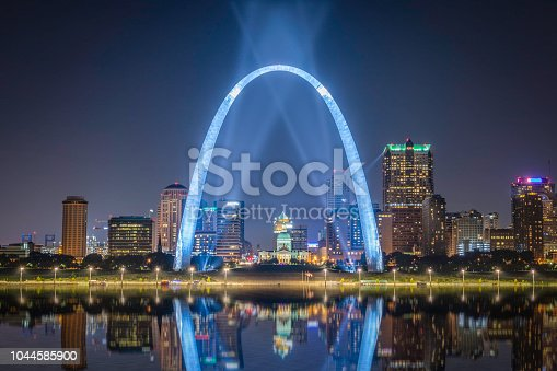 The St. Louis city skyline with Gateway Arch photographed at sunset.