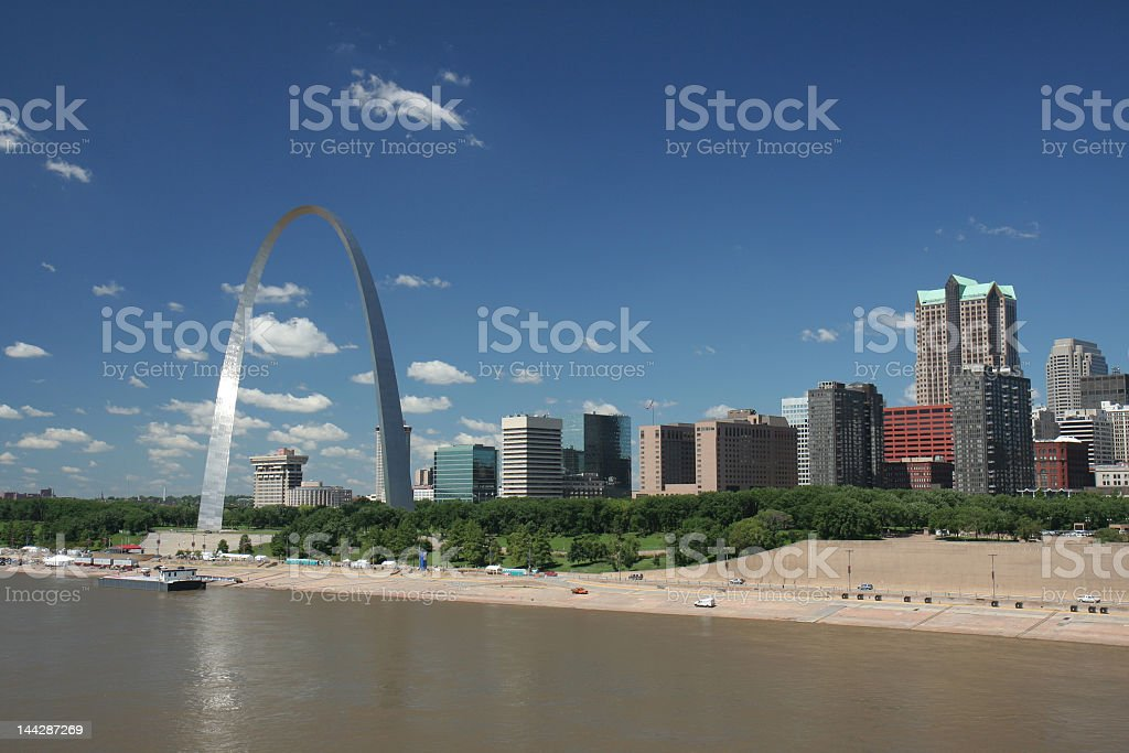 St Louis skyline taken from the water during the day stock photo