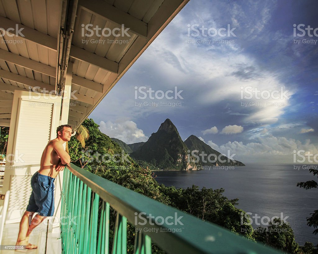 St. Lucia Balcony view stock photo