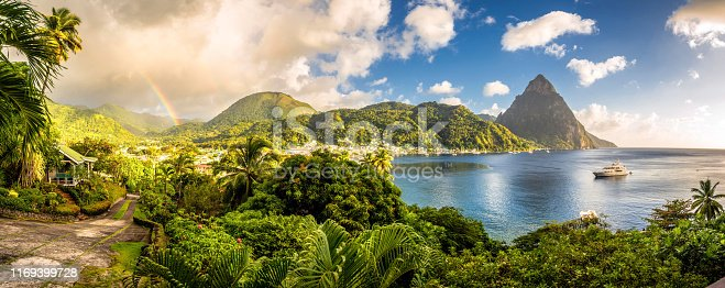 istock St. Lucia - Caribbean Sea with Pitons and Rainbow 1169399728