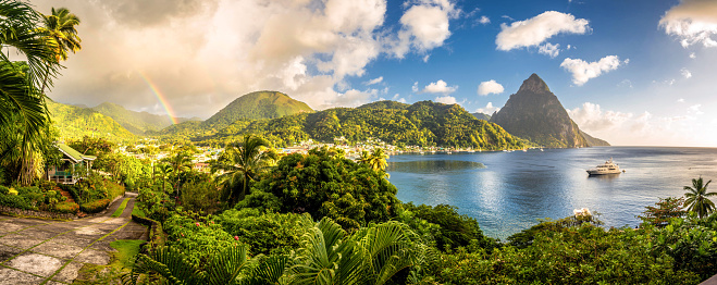 Caribbean World Heritage Site taken shortly before tropical rain shower