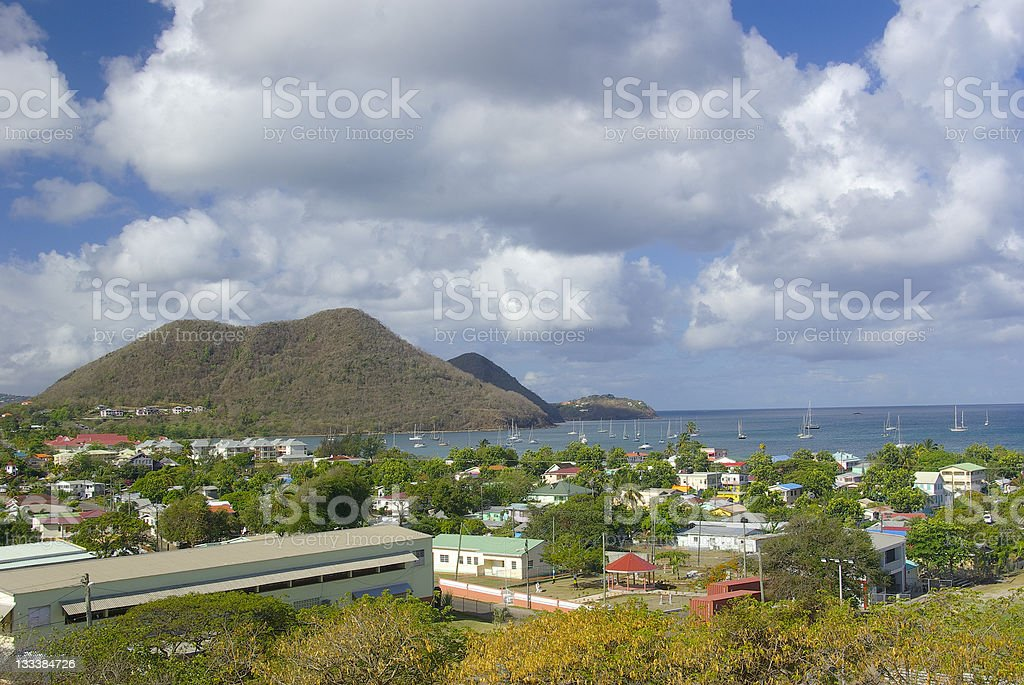 St Lucia - Elevated view of Gros Islet town stock photo