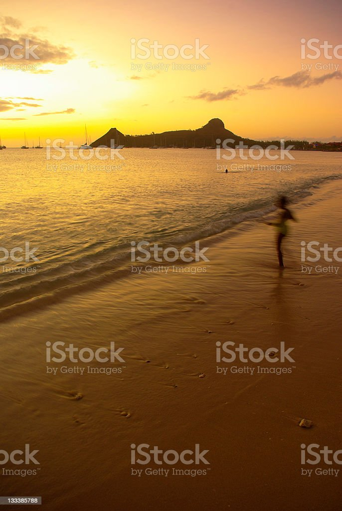 St Lucia; romantic Caribbean destination of Pigeon Island at sunset royalty-free stock photo