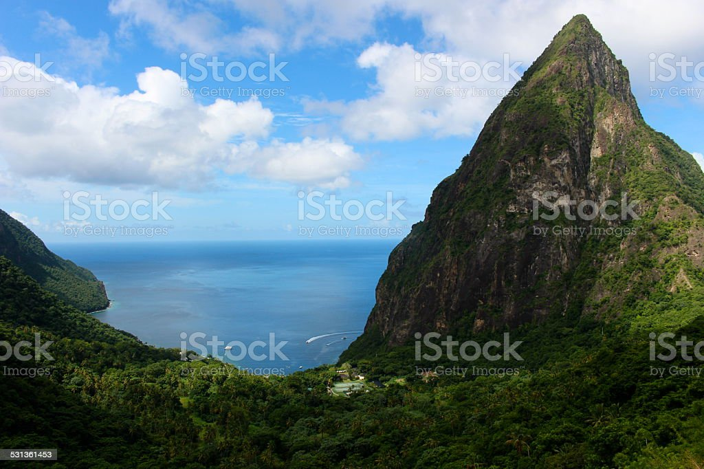 St. Lucia Twin Pitons stock photo