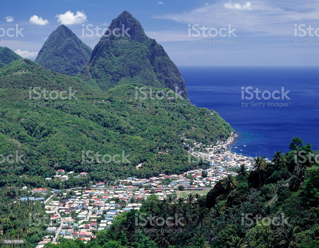St. Lucia, West Indies: The Pitons stock photo