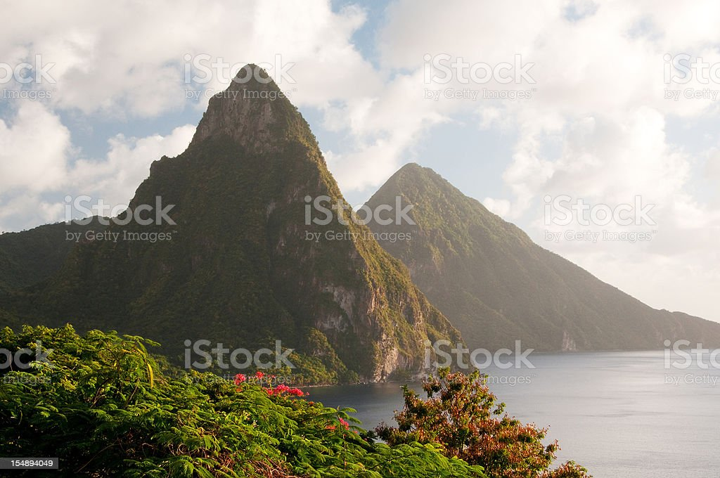 St. Lucia's Famous Twin Pitons stock photo