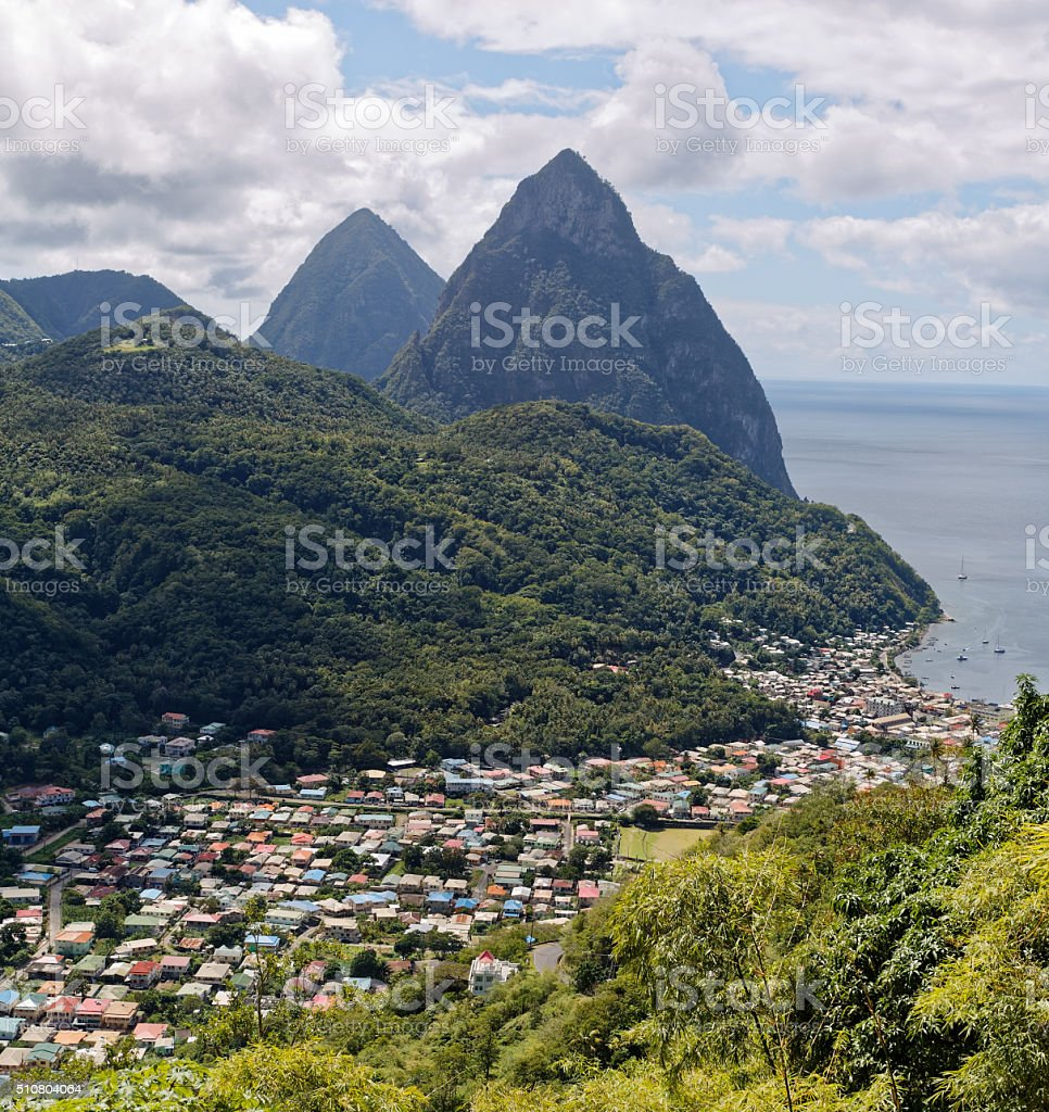 St Lucia's grad pitons. stock photo