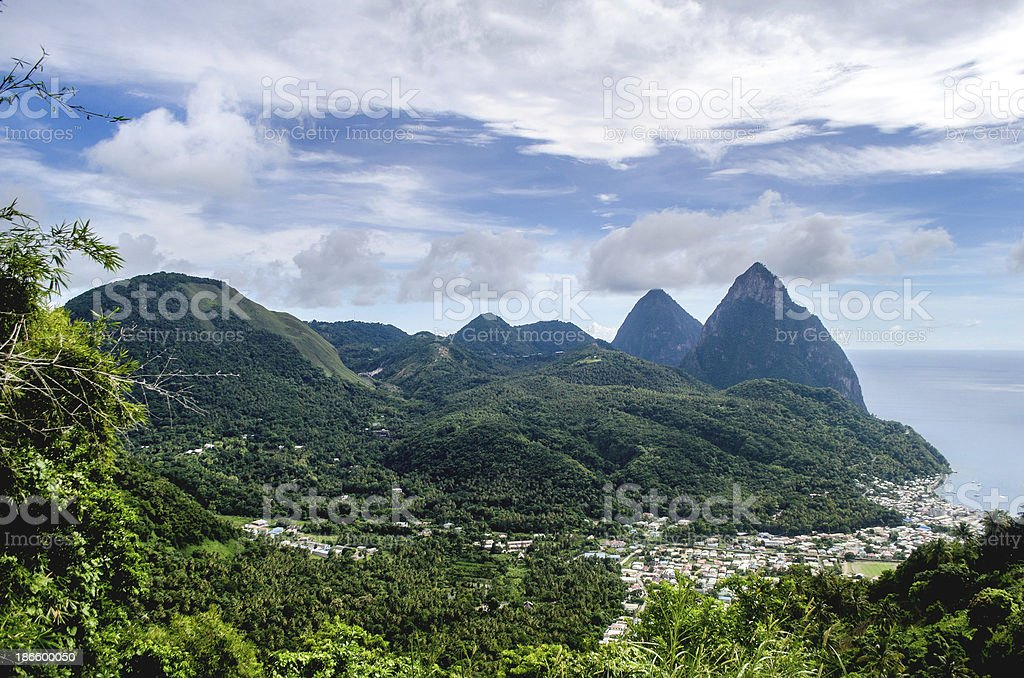 St Lucia's magnificent pitons and Soufriere town stock photo