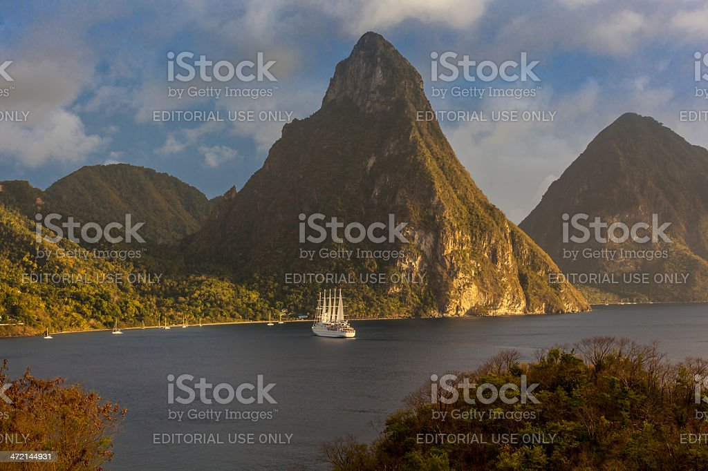 St. Lucia's Twin Pitons from Jade Mountain stock photo