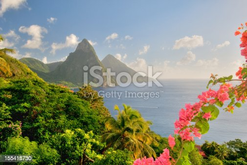 St. Lucia's Twin Pitons are lit by the later afternoon sunset glow and framed by lush foliage and tropical flowers.