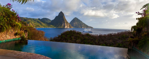 St. Lucia's two Pitons fromJade Mountain stock photo