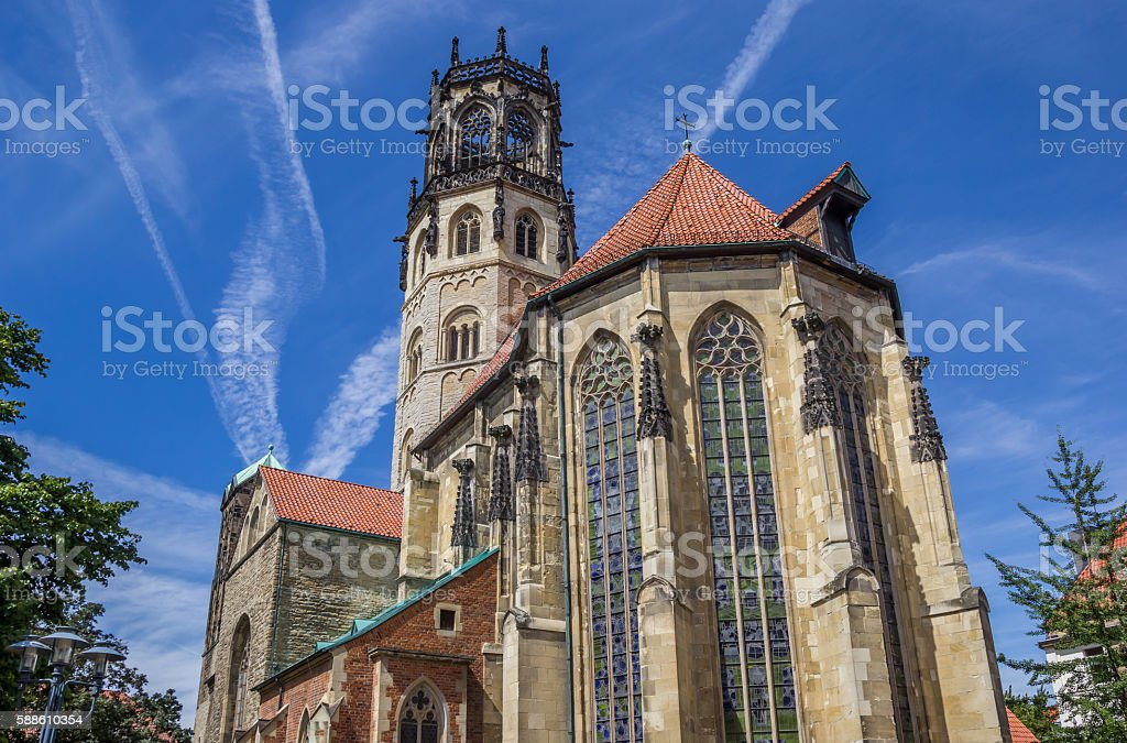 St. Ludgeri church in the historical center of Munster stock photo