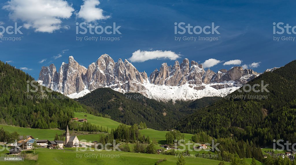 St. Magdalena Valley, Dolomites stock photo