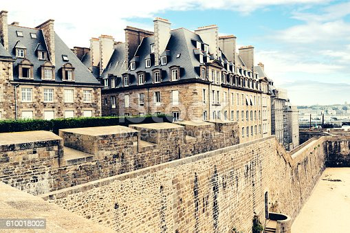 The fortified walls of St Malo in Brittany, France.