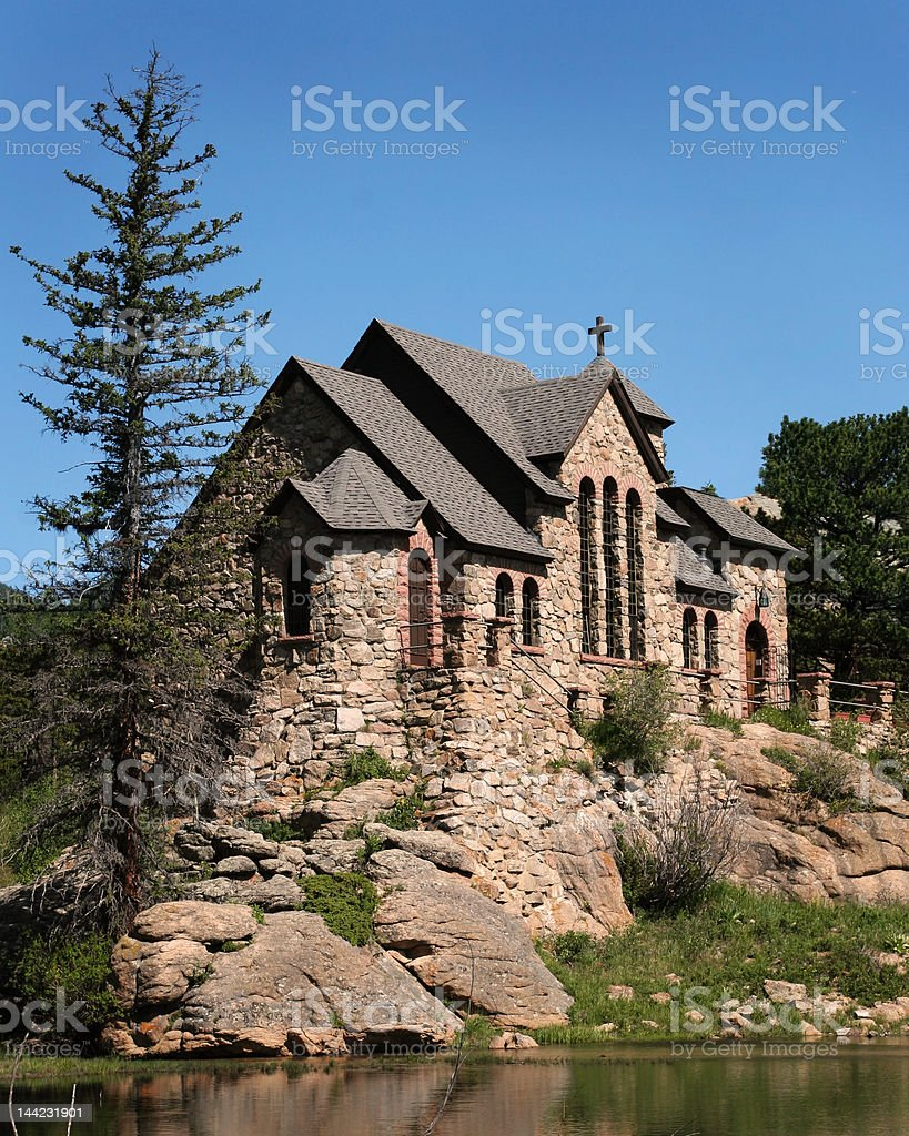 St. Malo's Chapel, Estes Park, CO stock photo