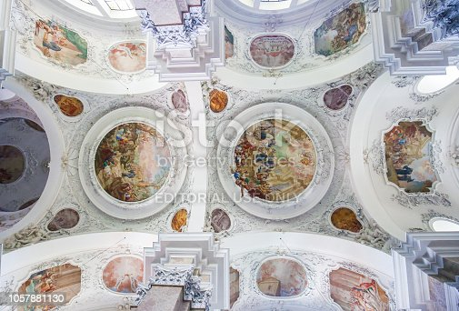Interior of the 18th Century Saint Mang Basilica in Fussen, Bavaria, Germany.