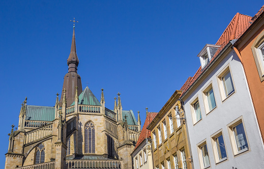 St. Marien church and facedes of old houses in Osnabruck, Germany