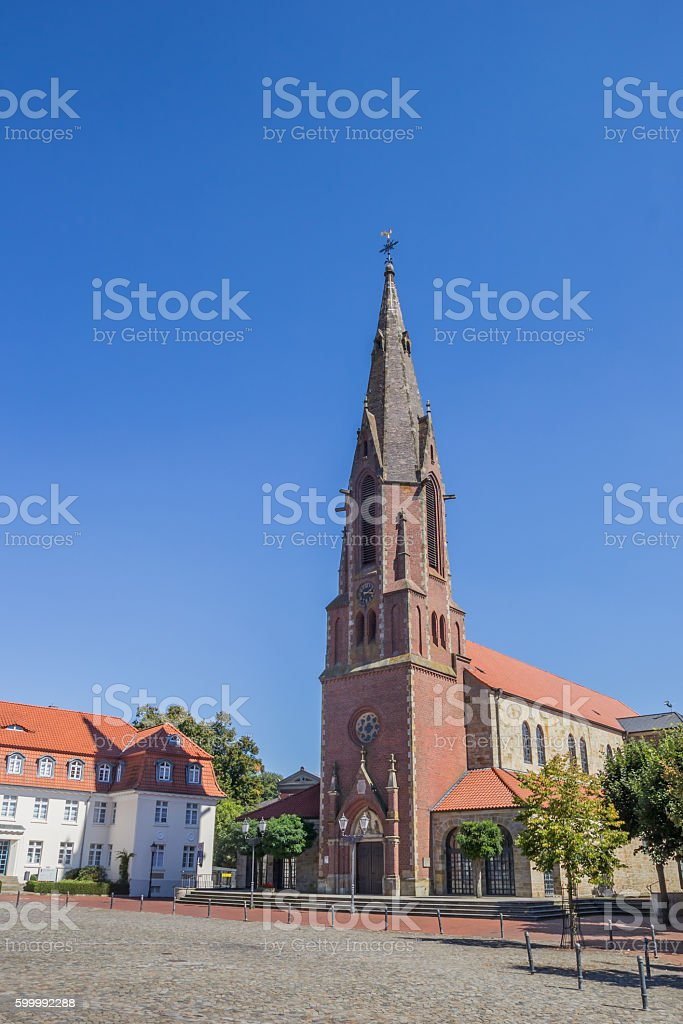 St. Marien church on the market square in Quakenbruck stock photo