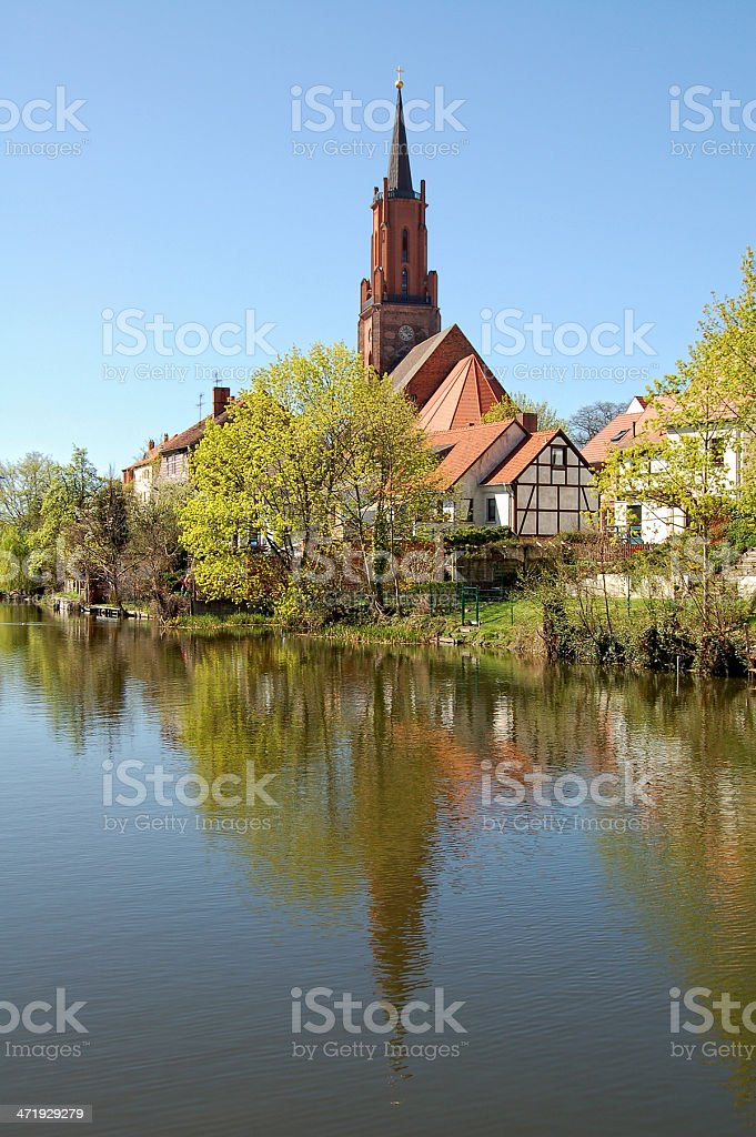 St. Marien-Andreas Church tower in Rathenow stock photo