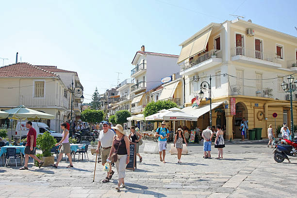 St. Markos Square in Zakynthos stock photo