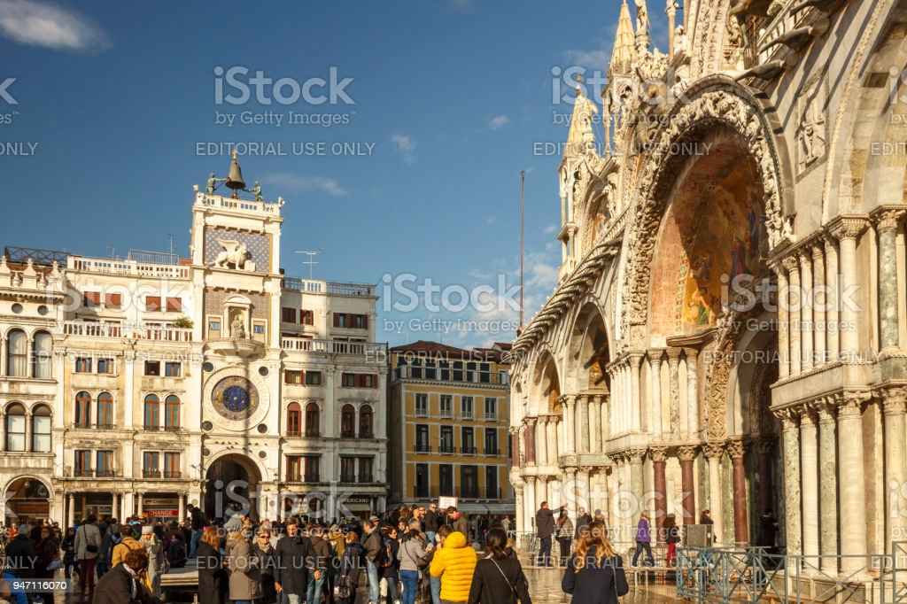 St Mark's Basilica and St Mark's Square in Venice, Italy, 2016 stock photo