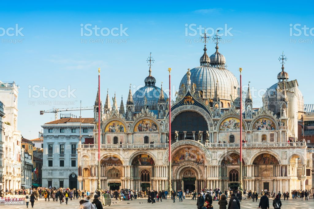 VENICE,ITALY- December 21, 2017 : St Mark's Campanile in Venice, ITALY stock photo