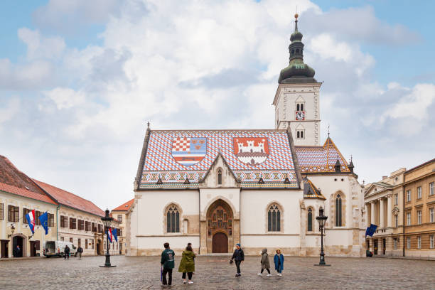 St. Mark's Church in Zagreb stock photo
