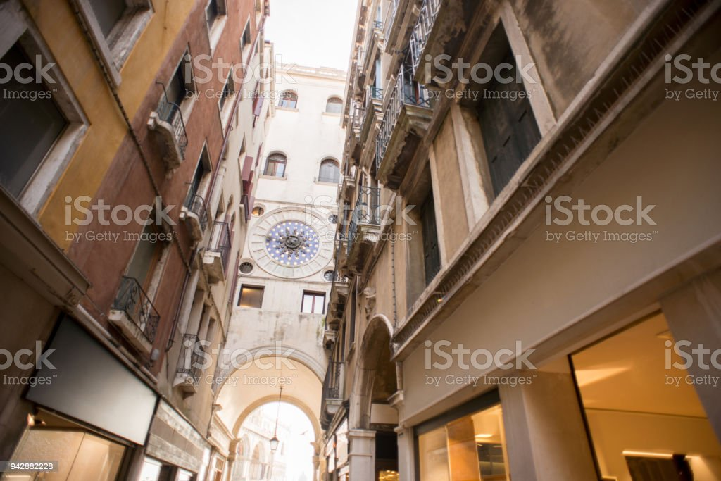 St Mark's Clock Tower in Venice. Italy. Back Side. stock photo