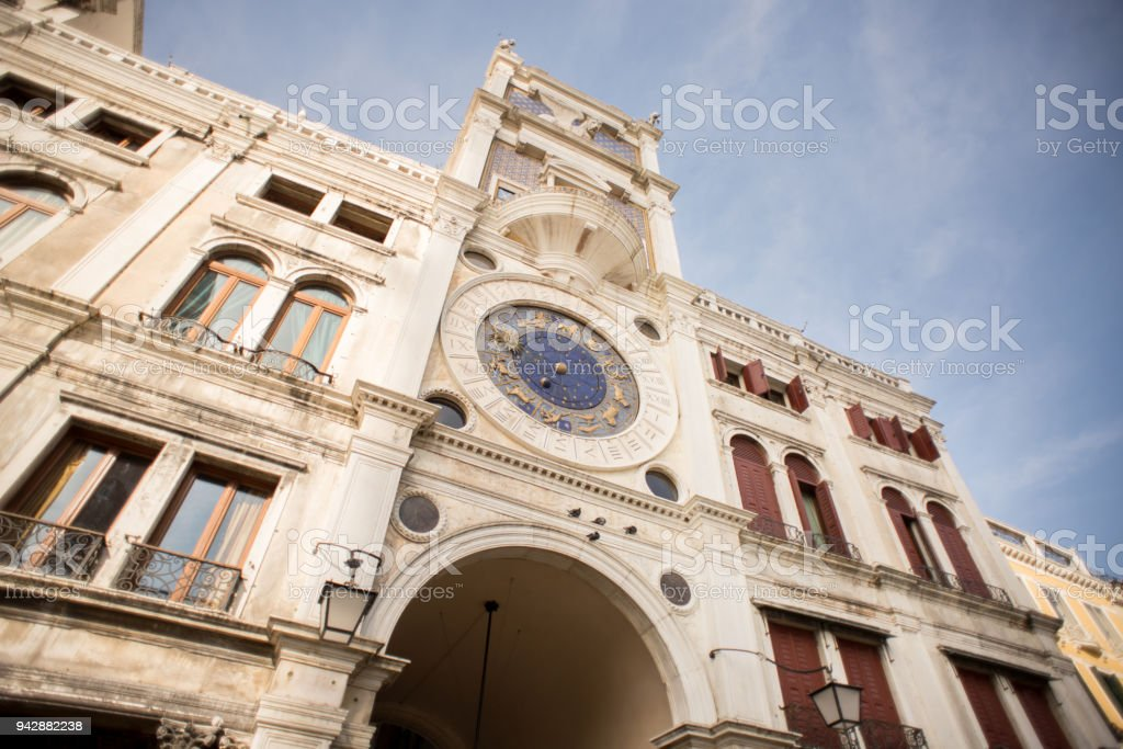 St Mark's Clock Tower in Venice on Piazza San Marco stock photo
