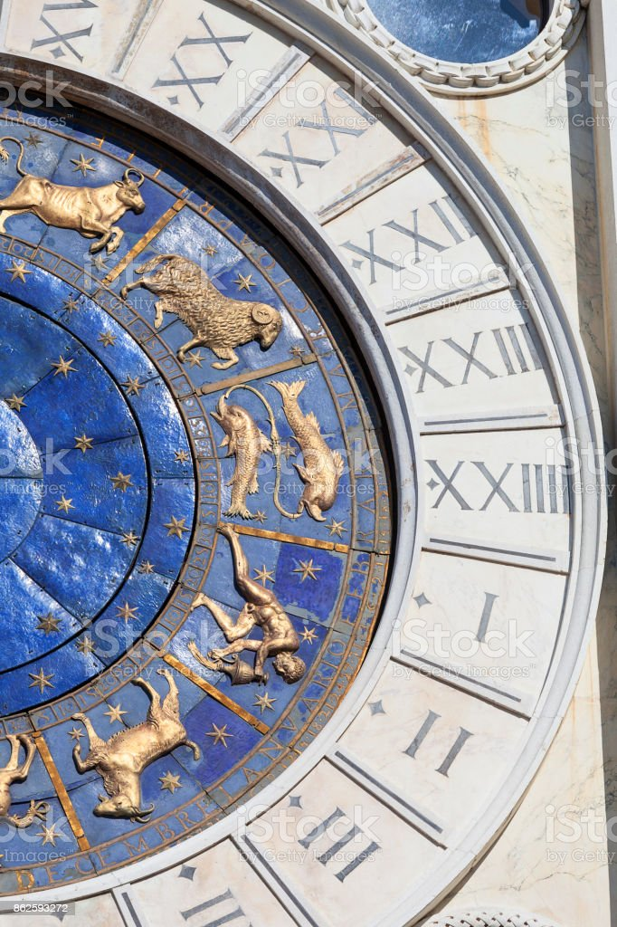 St Mark's Clock tower (Torre dell'Orologio) on Piazza San Marco, astronomical clock, St Mark's Square, Venice, Italy stock photo