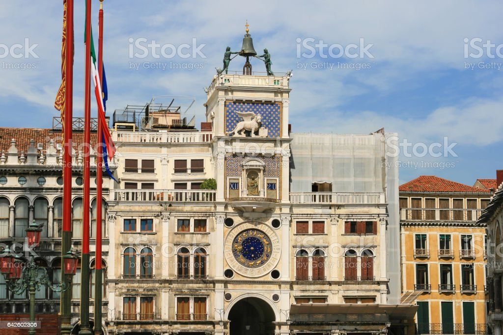 St Mark's Clocktower, Piazza San Marco, Venice, Italy. stock photo