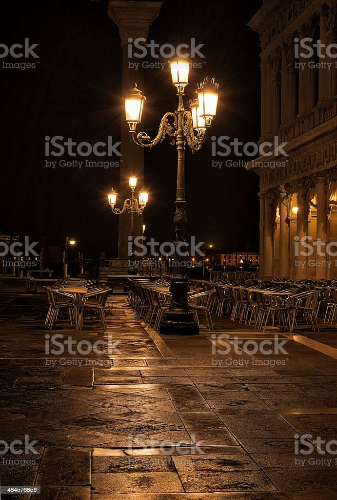 St Mark's Square cafe at night stock photo