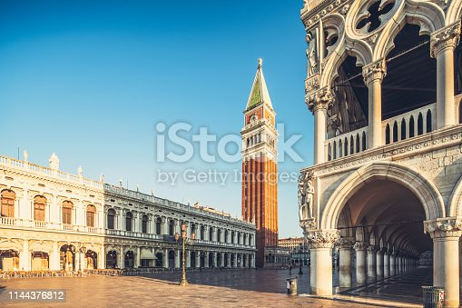 Famous Venetian Palazzo Ducale with view of Piazza San Marco and Campanile, Venice, Italy.