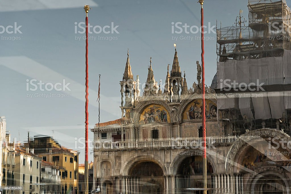 St Mark's Square reflected in flood water stock photo