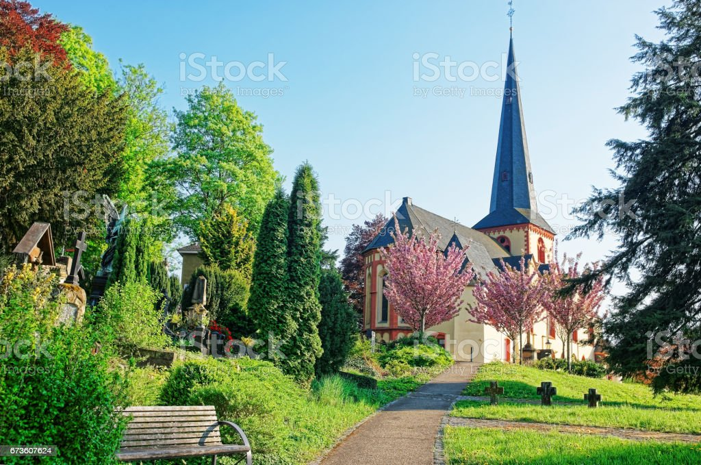 St Martin Church of Linz am Rhein in Germany stock photo