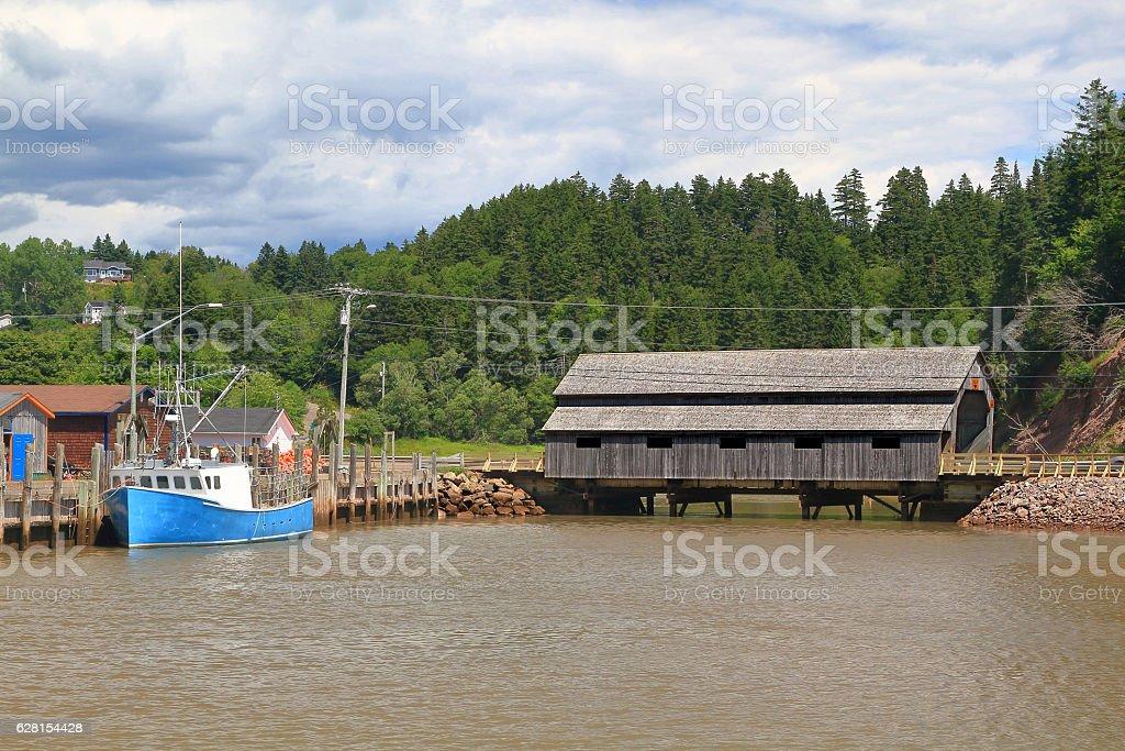 St. Martins New Brunswick Irish River #1 Cover wooden bridge stock photo