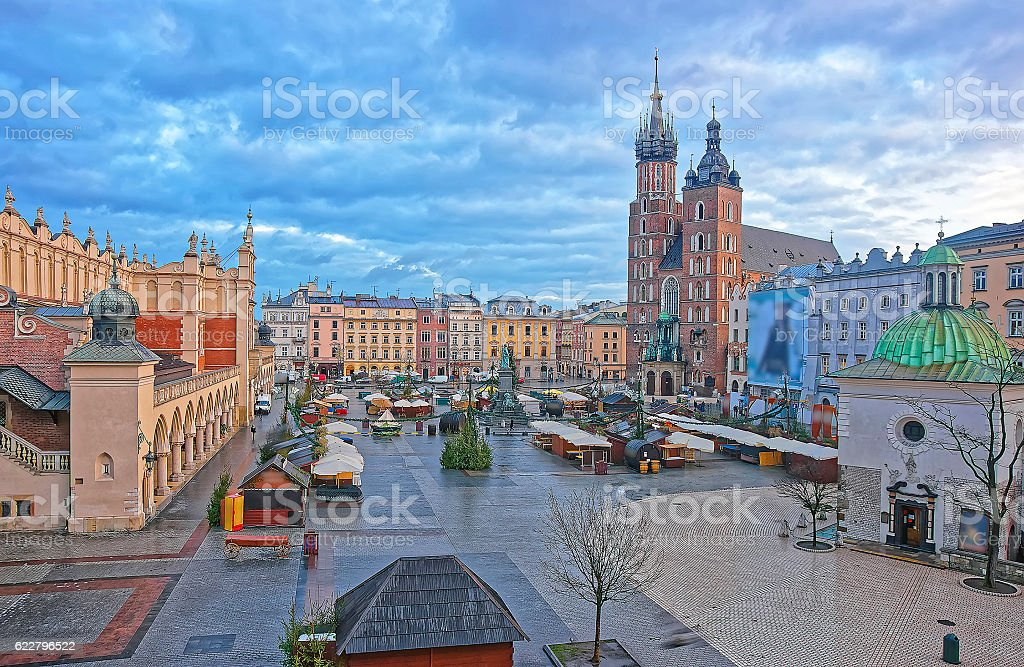 St Mary Basilica and Church of St Wojciech in Krakow stock photo