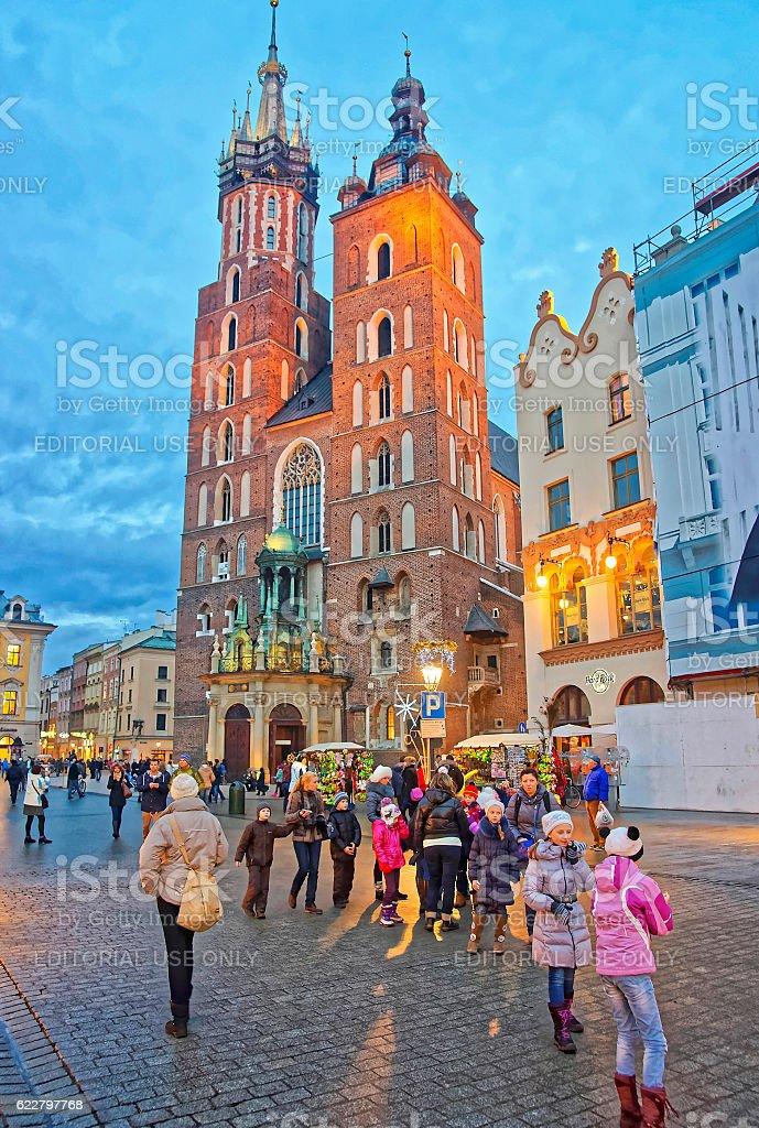 St Mary Basilica and street market in Krakow stock photo