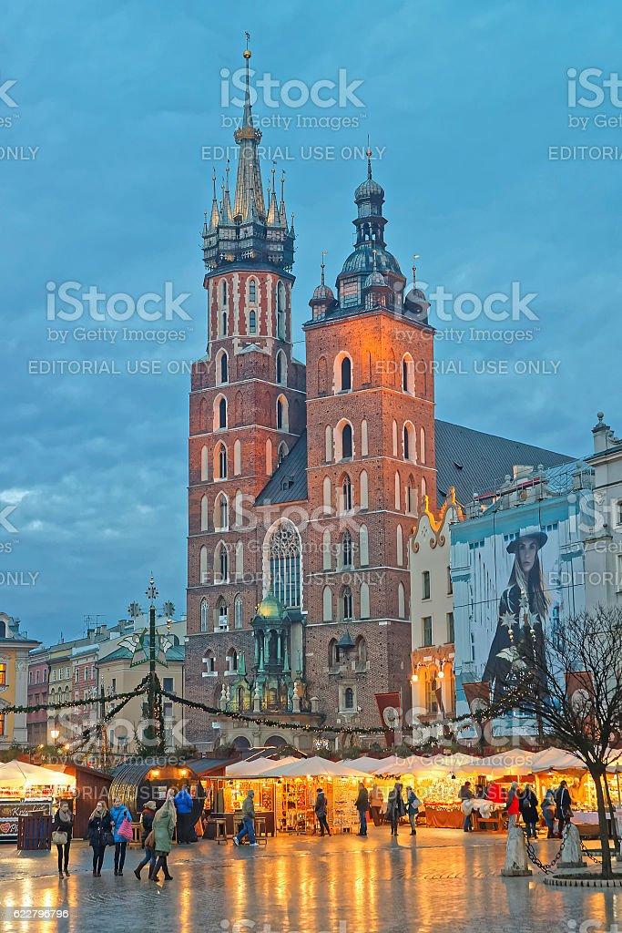 St Mary Basilica and street market on Main Market Square stock photo