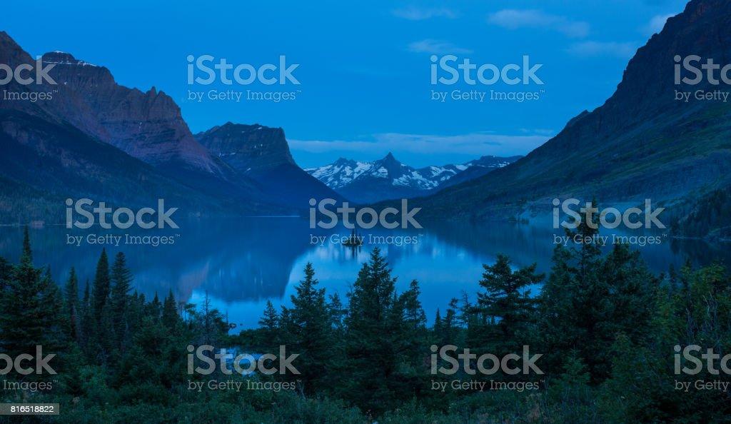 St Mary Lake at dusk stock photo