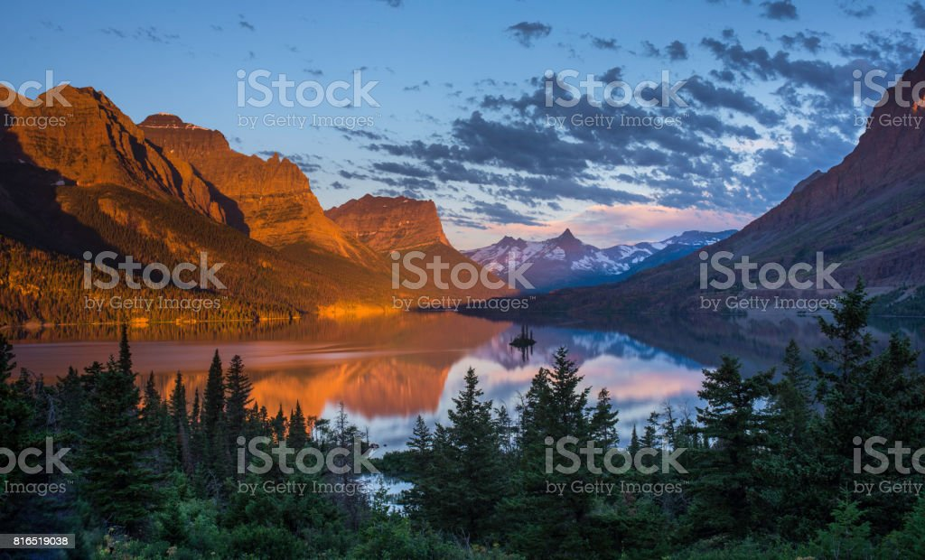 St Mary Lake in early morning stock photo